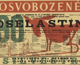 Playbill for a performance of The Donkey and the Shadow by J. Werich and J. Voskovec. Prague, Liberated Theatre, 1933