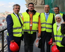 The delegation visited the Historical Building of the National Museum, which is being reconstructed at the moment.<br />  Left to right: the Director-General of the Directorate-General for Antiquities and Museums of the Syrian Arab Republic Maamoun Abdulkarim and the Director General of the National Museum Michal Lukeš, the interpreter Samir Masad, the Director of the Damascus Citadel Edmond Al-Ejji and the Directress of Foreign Collaboration Lina Kutienfa.