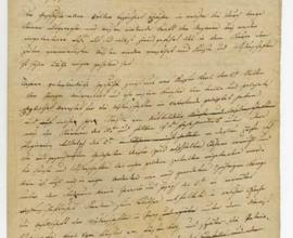 První strana Provolání An die vaterländischen Freunde der Wissenschaften, koncept, rukopis autora Františka Josefa hraběte z Klebelsbergu, 10. 4. 1818