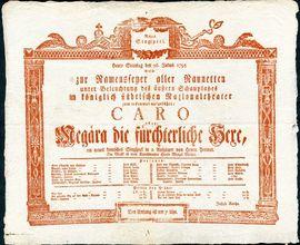 Cedule k představení singspielu J. Perineta Caro. Brno, Královské městské Národní divadlo, 1795. Moravské zemské muzeum, Brno