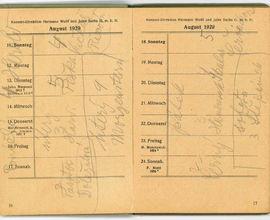 Zápisník houslisty Karla Hoffmanna z roku 1929 se jmény žáků