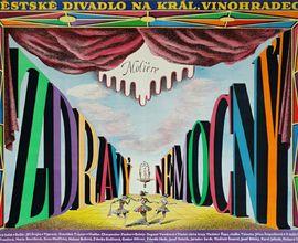 Výtvarný plakát Františka Tröstra k inscenaci Molièrovy hry Zdravý nemocný. Praha, Městské divadlo na Královských Vinohradech, 1946