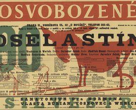 Cedule k představení hry J. Wericha a J. Voskovce Osel a stín. Praha, Osvobozené divadlo, 1933