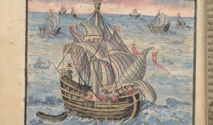 fol. 45v, Hýzrle se plaví z Dieppe do Doveru