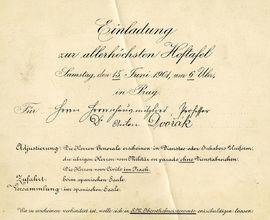 Pozvánka k nejvyšší dvorní tabuli pro Antonína Dvořáka  v rámci jeho jmenování za člena Panské sněmovny, 1901