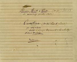 Titulní list cyklu Dvořákových  koncertních předeher s dedikací univerzitě v Cambridge