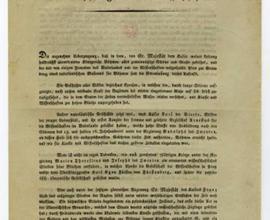První strana Provolání An die vaterländischen Freunde der Wissenschaften, tisk, 15. 4. 1818