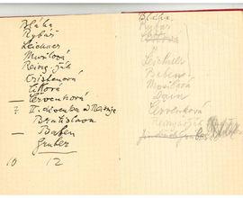 Zápisník houslisty Karla Hoffmanna z roku 1932 se jmény žáků